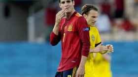 Álvaro Morata se lamenta tras una ocasión desaprovechada ante Suecia