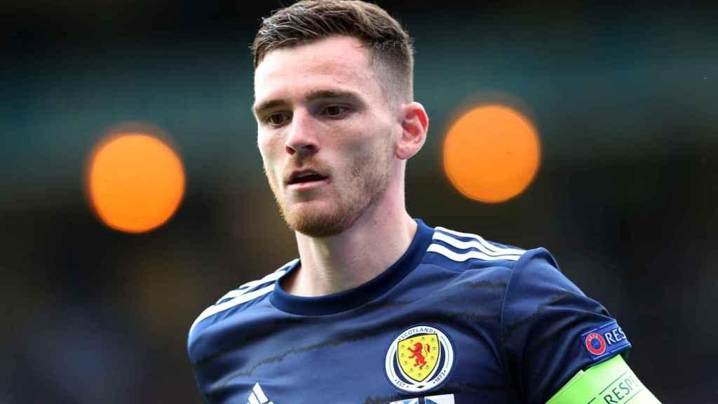 Andy Robertson, en un partido de la selección de Escocia