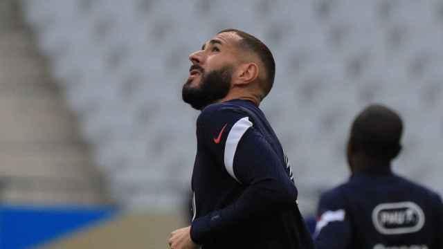 Karim Benzema, entrenando con Francia