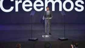 Pablo Casado, durante la presentación este lunes en Madrid de la Convención del PP.
