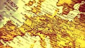 Un mapa de Europa en idioma alemán.