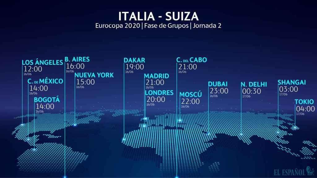 El horario del Italia - Suiza de la Eurocopa