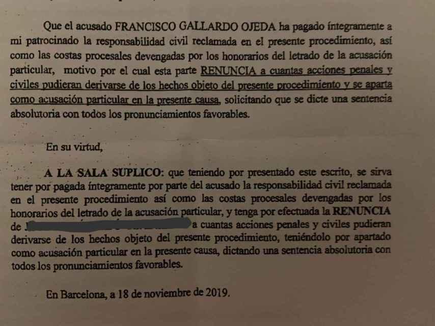 El denunciante dio por saldadas las deudas con Gallardo