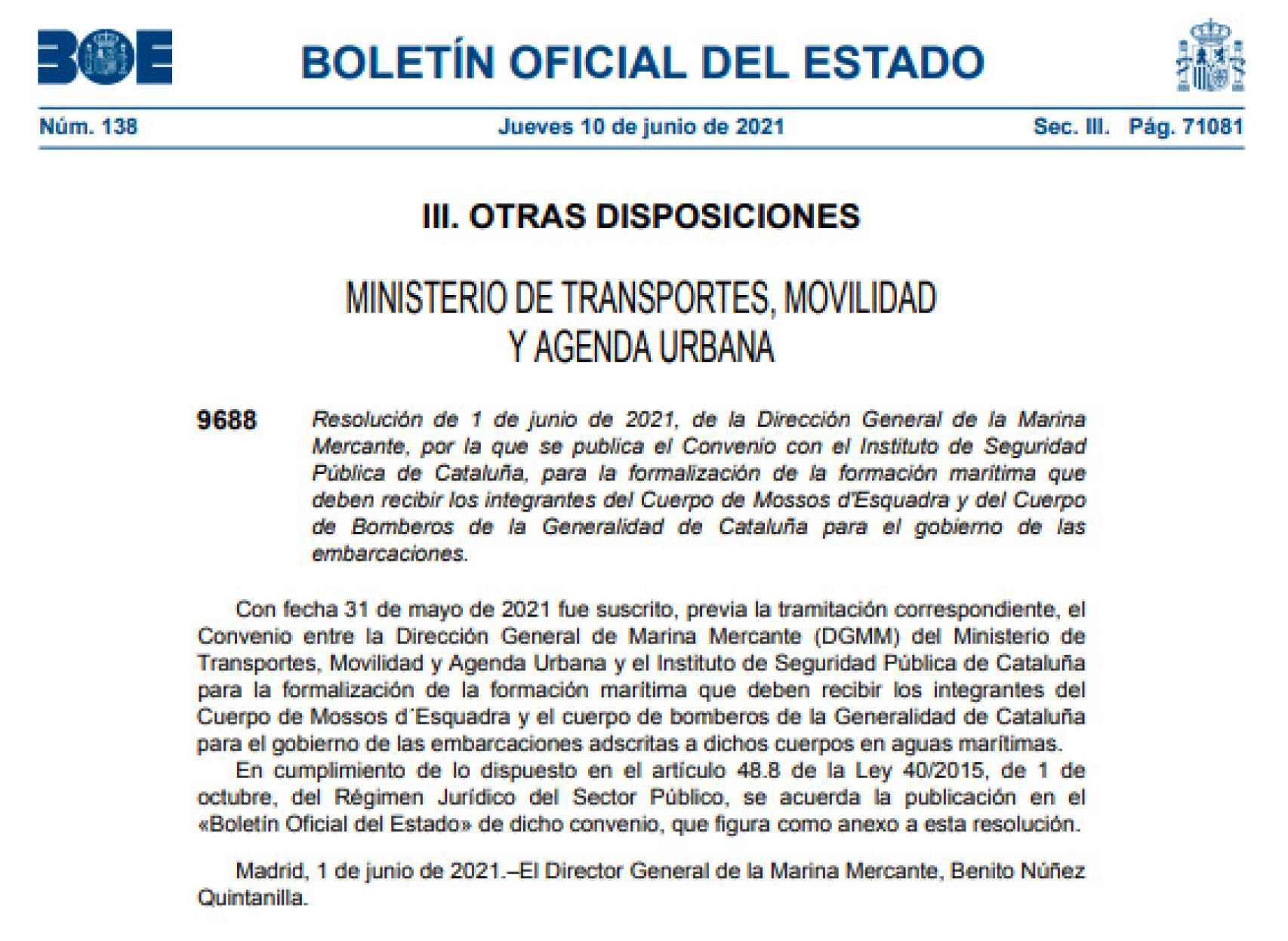 Resolución publicada el pasado 10 de junio en el BOE.