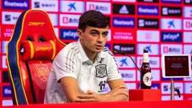 Pedri González, en una rueda de prensa con la Selección