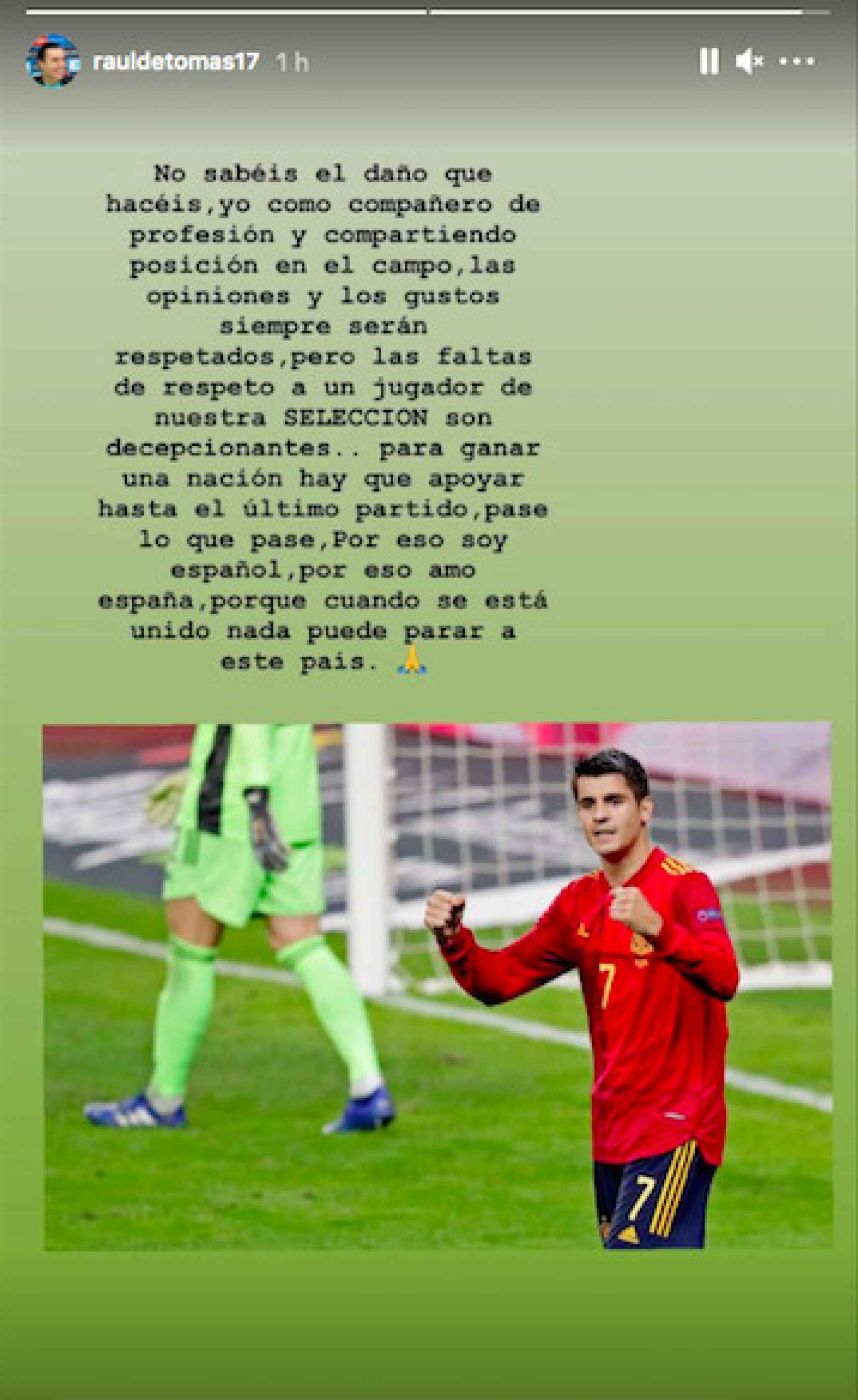 El mensaje de RDT a favor de Morata