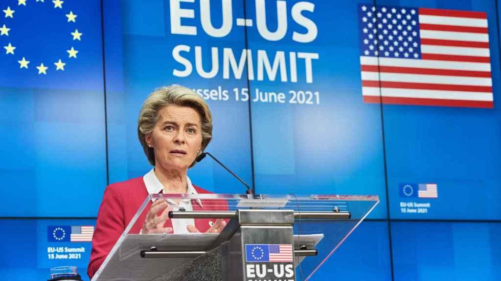 Ursula von der Leyen, durante la rueda de prensa de este martes