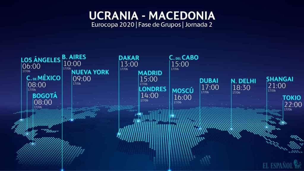El horario del Ucrania - Macedonia del Norte de la Eurocopa