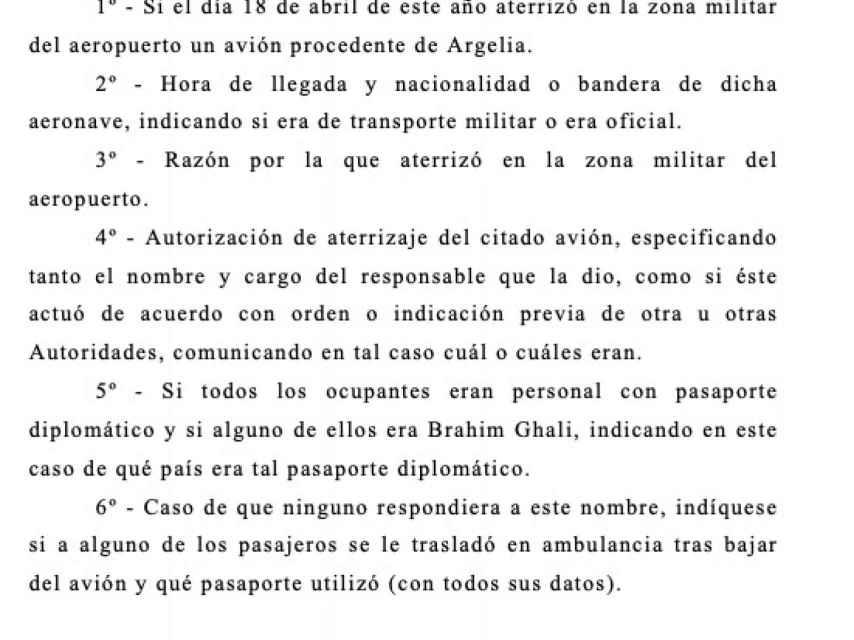 Providencia del magistrado que indaga en la entrada de Ghali en España.