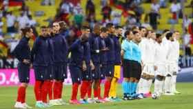 Las selecciones de Francia y Alemania antes del partido
