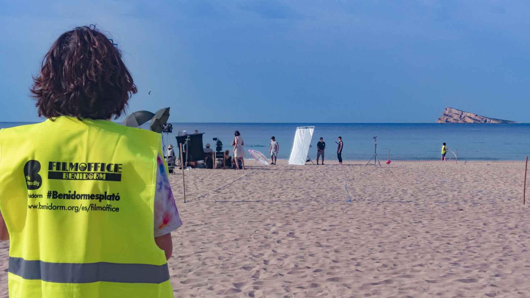 Rodaje este martes en la playa de Levante de Benidorm.