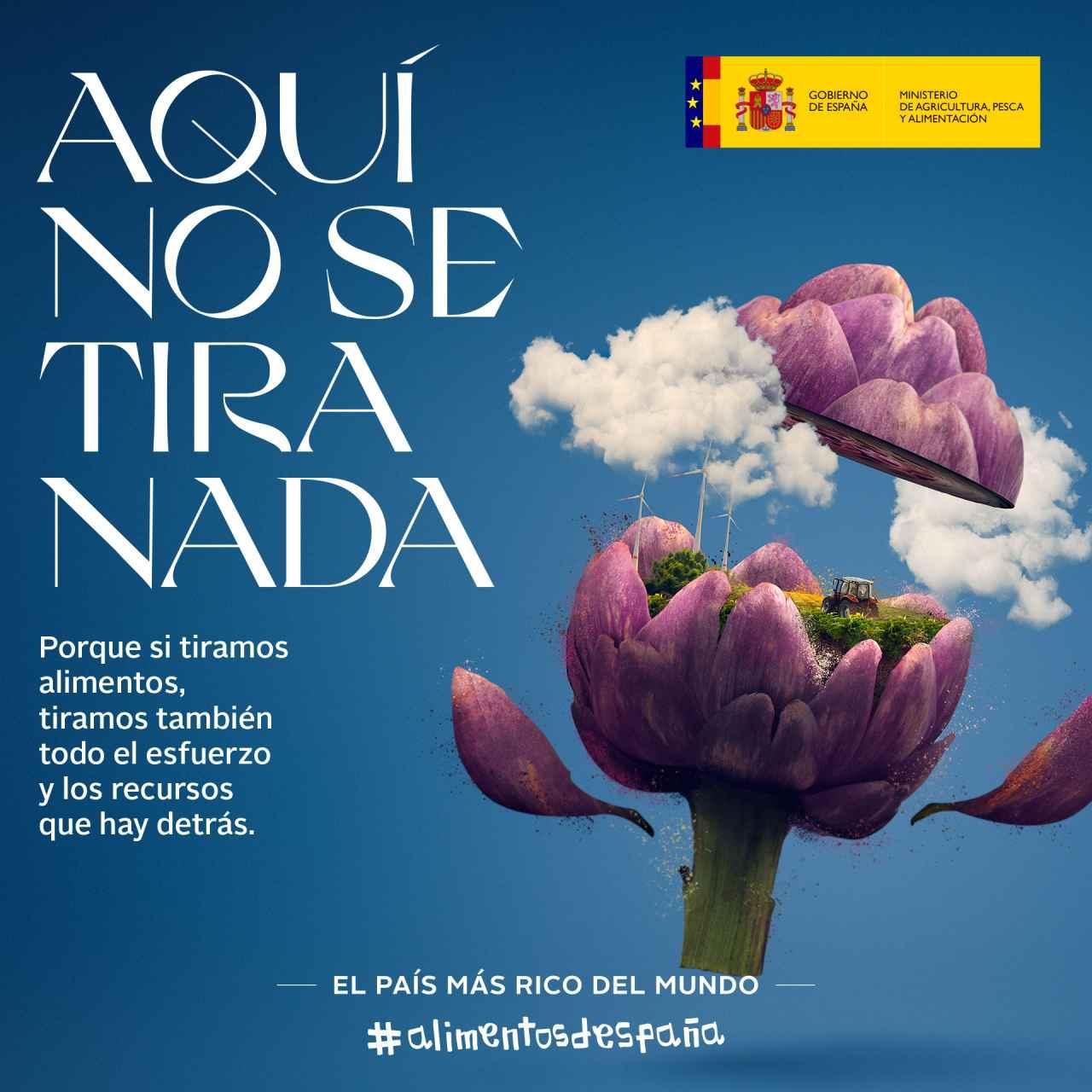 """Cartel de la campaña del MAPA """"Aquí no se tira nada"""""""