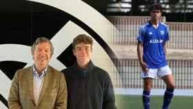 Rafa Llorente, en un fotomontaje con la confirmación de su fichaje por el Real Madrid y con Las Rozas