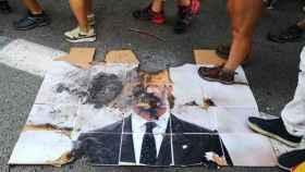 Una foto del Rey, quemada en una manifestación independentista.