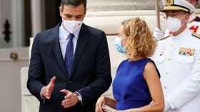 Pedro Sánchez, este martes en un acto con la presidenta del Congreso, Meritxell Batet.