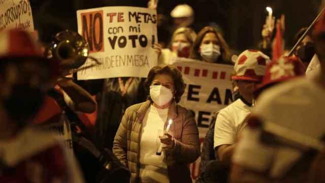 Seguidores de Fujimori protestan en las calles de Perú.