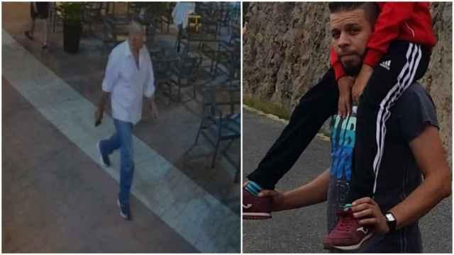 Carlos, empuñando una pistola, junto a una foto del difunto Younes con su hijo.