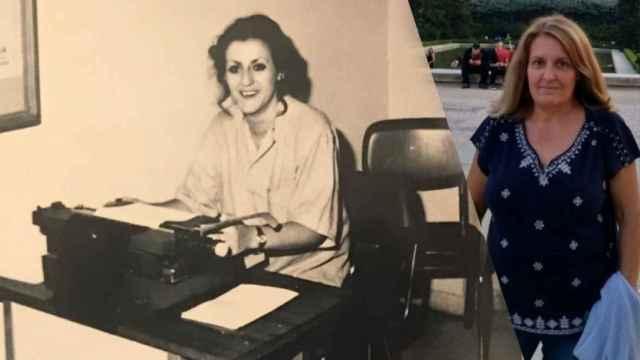 María José, a la izquierda, trabajando en la Policía Nacional. A la derecha, su hermana Almudena en una fotografía actual.