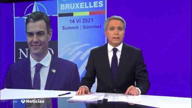 Vicente Vallés en el informativo de este lunes hablando del encuentro de Sánchez y Biden.