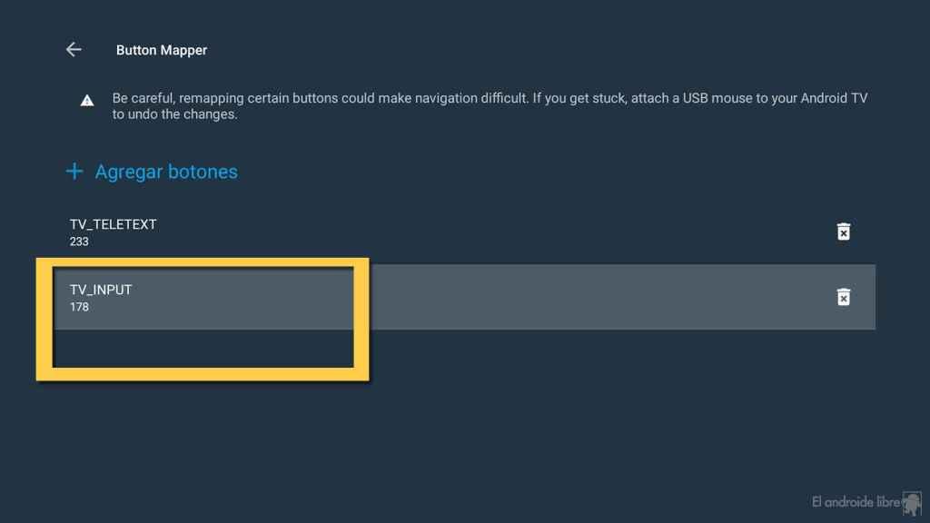Botón seleccionado para configurar