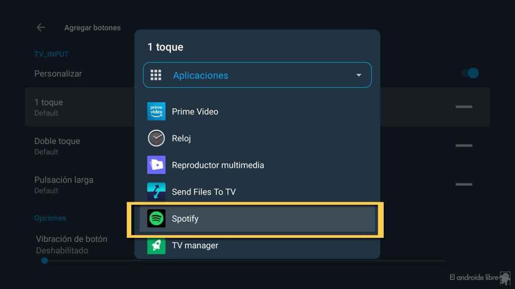 Asignando Spotify al botón del mando de control