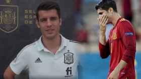 Álvaro Morata, en un fotomontaje con un partido de la selección