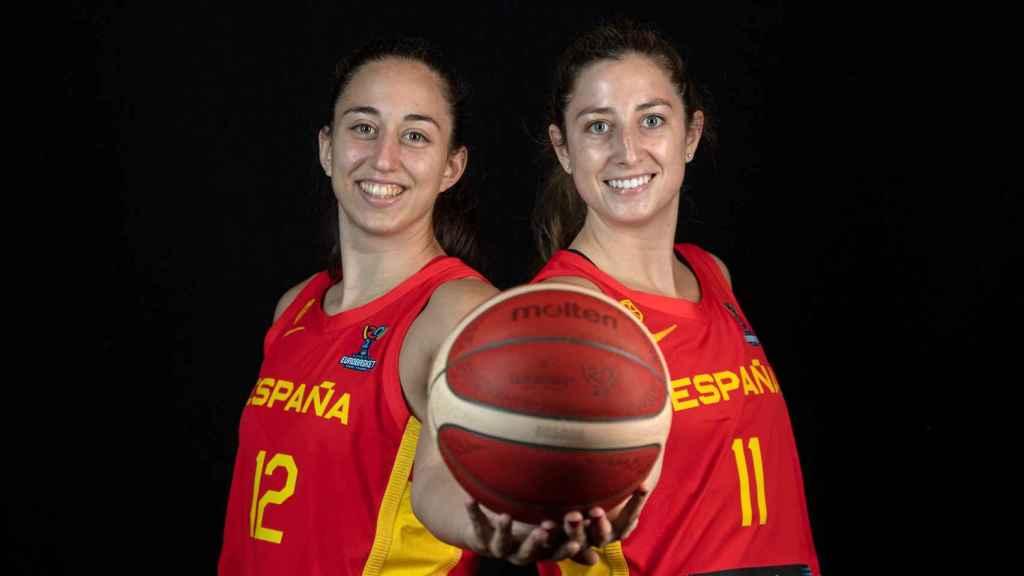 Maite Cazorla y Leo Rodríguez, jugadoras de la selección española de baloncesto