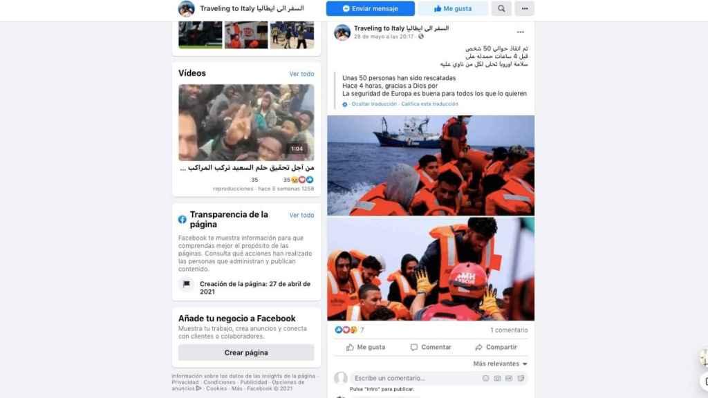 Otra imagen de la web que se ofrece para trasladar a inmigrantes ilegales desde Libia a Italia.