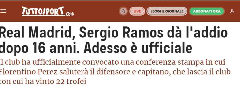 Tuttosport y su noticia sobre Sergio Ramos