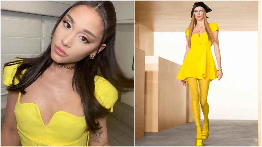 Ariana Grande y la modelo con el 'look' 36 de la colección Fall Winter 2021 de Versace.