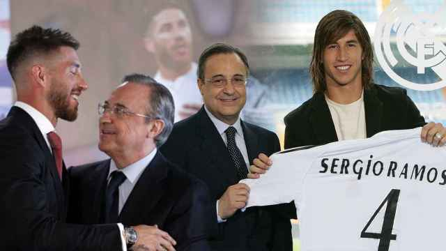 Sergio Ramos y Florentino Pérez en 2005 y en una foto reciente