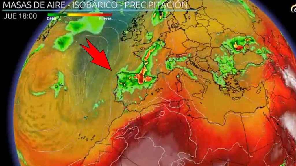 La vaguada atlántica afectando a España. Eltiempo.es.