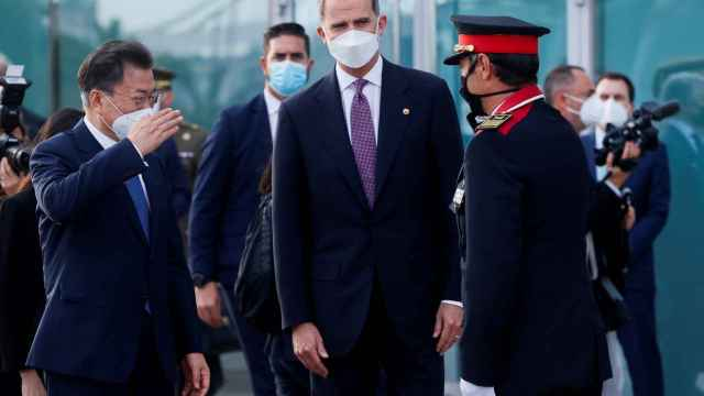 El Rey y el presidente de Corea del Sur, recibidos este miércoles en Barcelona por el Mayor Trapero.