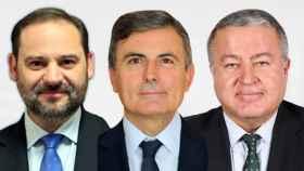 El ministro José Luis Ábalos, el secretario de estado Pedro Saura y el senador Francisco Bernabé.
