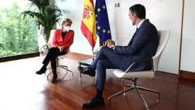 Ursula von der Leyen, presidenta de la Comisión Europea, y Pedro Sánchez, presidente del Gobierno.