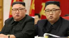 A la izquierda una imagen de Kim Jong-Un de hace unos meses. A la derecha, imagen de su última aparición.