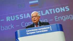 El jefe de la diplomacia de la UE, Josep Borrell, durante la rueda de prensa de este miércoles