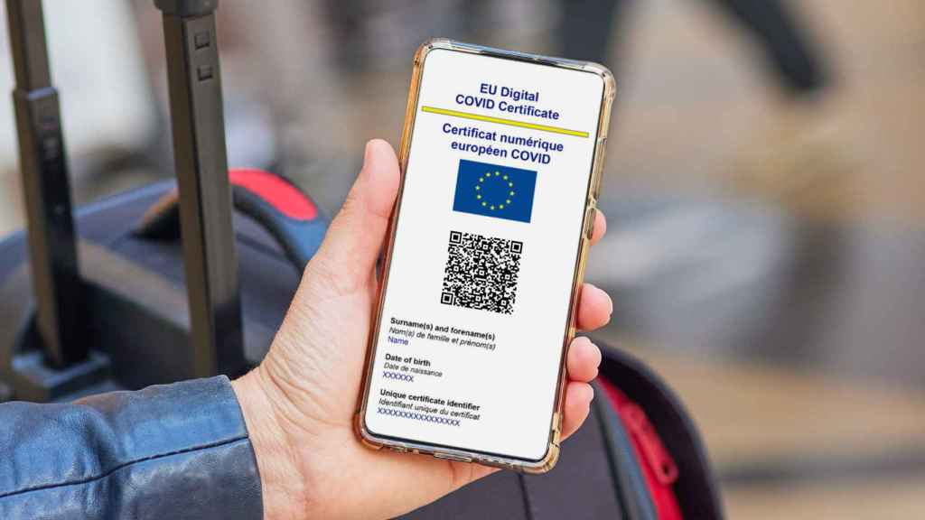 El certificado Covid de la Unión Europea con información personal.