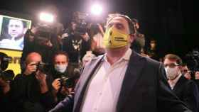 Oriol Junqueras, líder de ERC, durante un acto de campaña.