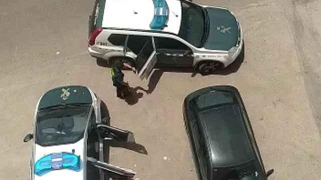 Carlos conducido por varios agentes al bloque de pisos en el que residía con su hermano y donde intervinieron varias armas.
