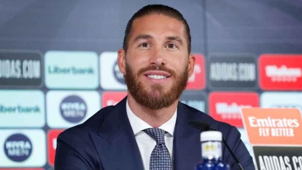 Sergio Ramos, durante la rueda de prensa de su despedida
