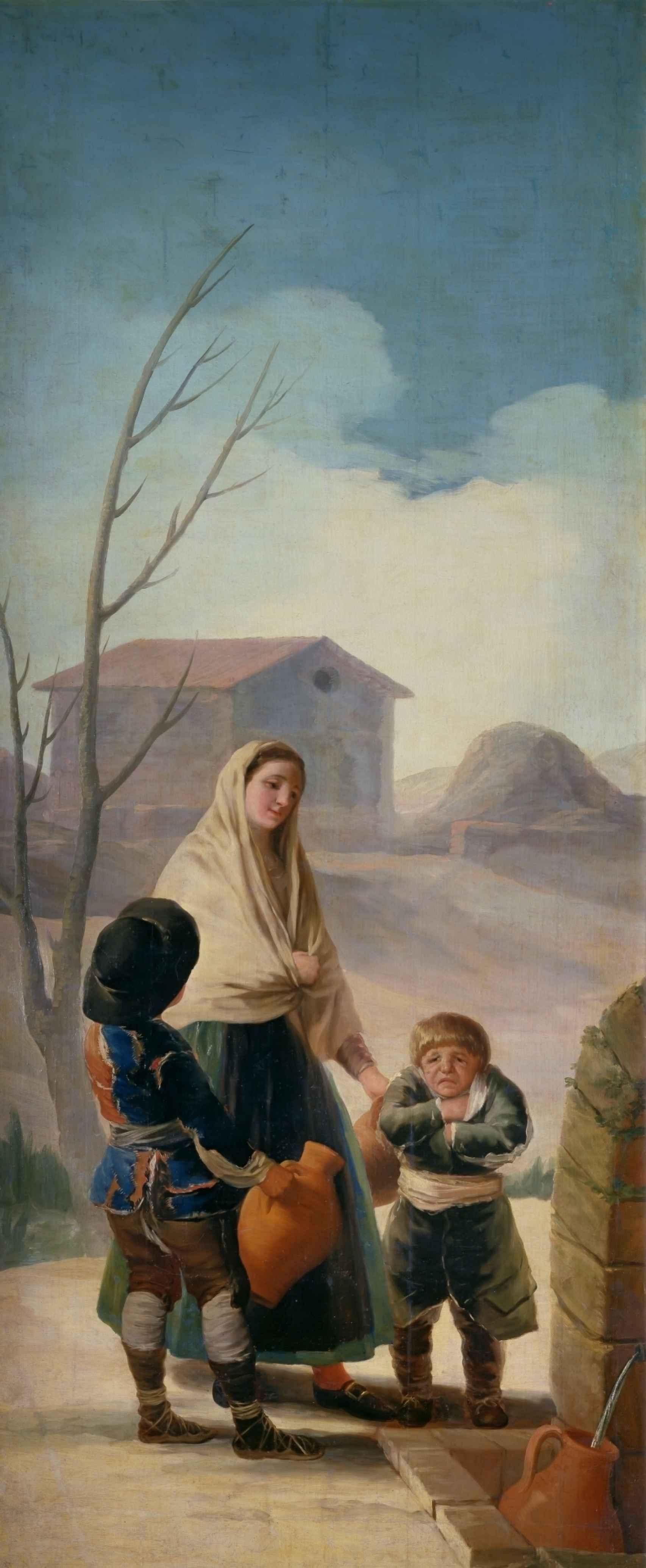 Mujer con dos muchachos en la fuente (''Los pobres en la fuente'')