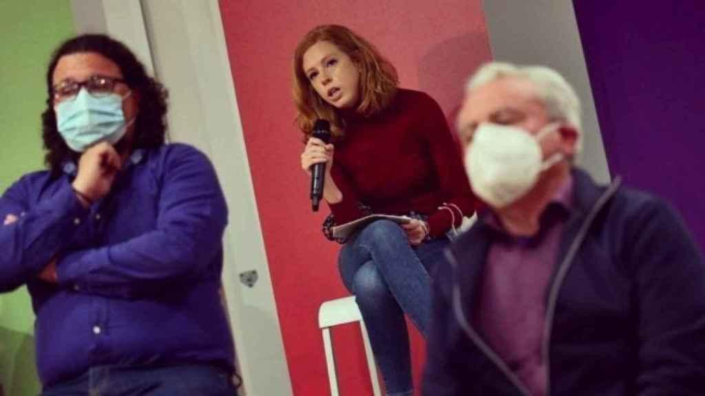 Lilith Verstrynge, durante un acto en la campaña electoral de Unidas Podemos en la Comunidad de Madrid.