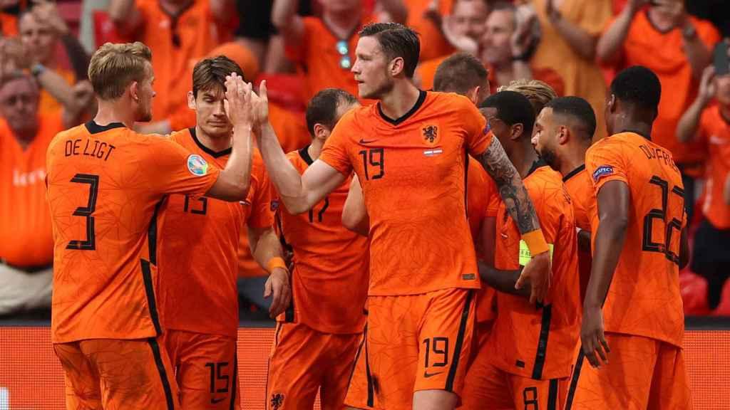 La selección de Países Bajos celebrando un gol en la Eurocopa
