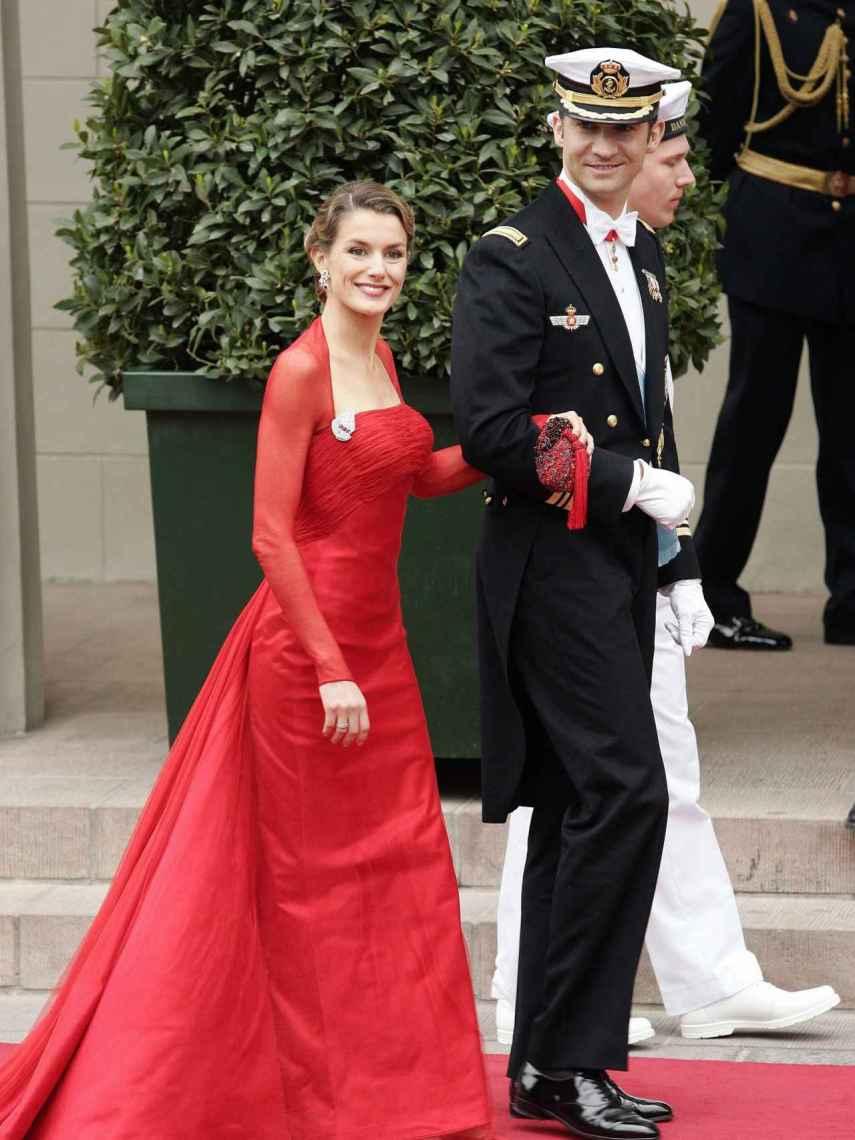 Letizia con un diseño de Lorenzo Caprile en la boda de los príncipes de Dinamarca.