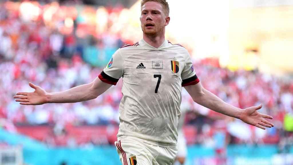 De Bruyne celebra su golazo frente a Dinamarca