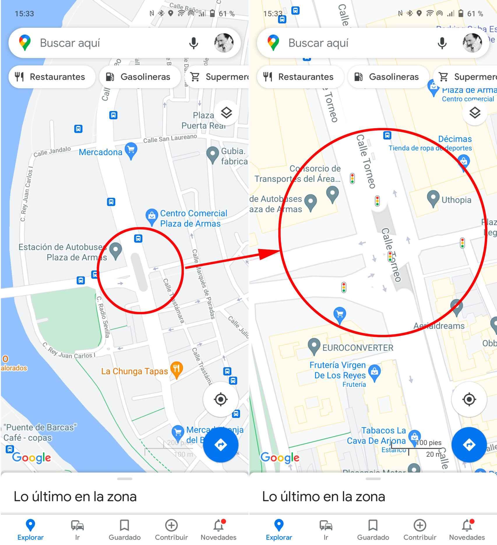 Niveles de zoom en Google Maps