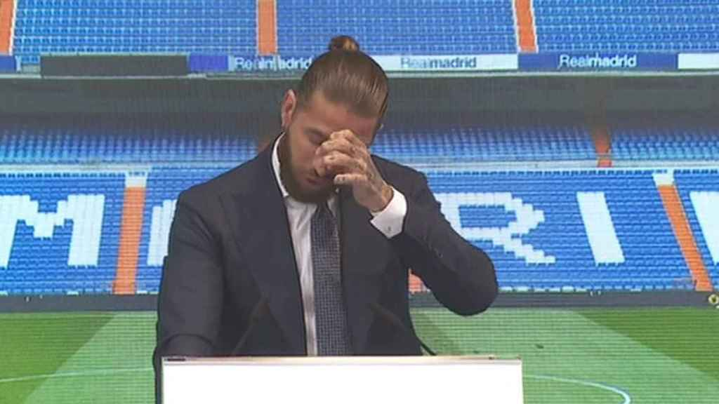 Sergio Ramos, emocionado durante su acto de despedida del Real Madrid