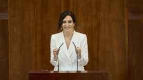 Isabel Díaz Ayuso durante su discurso de investidura en la Asamblea de Madrid.