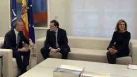 Rajoy y Cospedal, reunidos en Moncloa con el todavía secretario general de la OTAN, Stoltenberg.